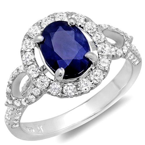 White Gold Round Diamond Oval Sapphire Halo Engagement Bridal Ring