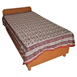 Block Printed Floral Bagru Print Design Cotton Flat Single Bed Sheet - B00GSSPGKM