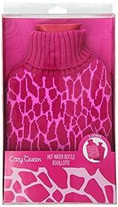 Upper Canada Soap Animal Print Hot Water Bottle, Giraffe, Pink