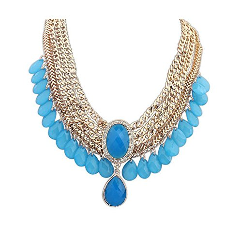 Darkey Wang Women's Fashion The Exotic Gemstone Water Droplets Necklace(bule) (Starter Pack On Whats The Word compare prices)
