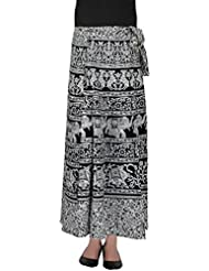 SFL Women's Cotton Wrap Skirt (Black And White) - B01C772DYE