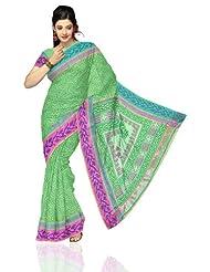 Unnati Silks Women Kota Silk Printed Green Saree