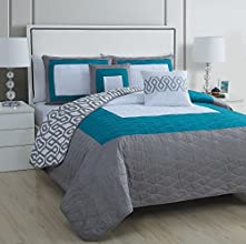 Avondale Manor Parker 5 Piece Quilt Set King TealGrey