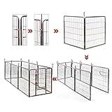 Songmics 8-tlg Welpenauslauf für Hunde Kaninchen und Andere Kleine Haustiere 80 x 100 cm (B x H) Grau PPK81G -