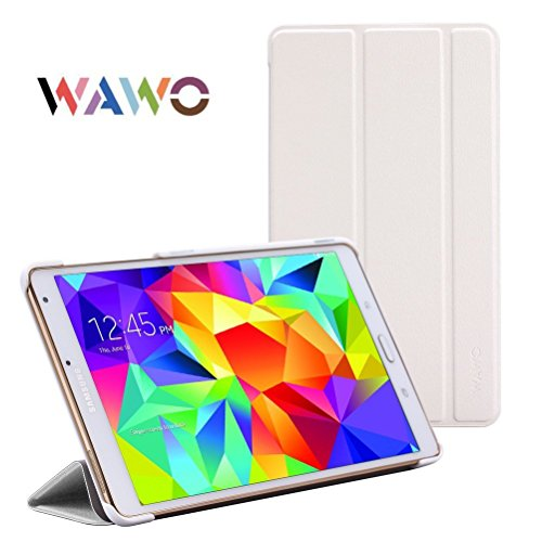 Wawo Creative Smart Tri-Fold Cover Case For Samsung Galaxy Tab S 8.4-Inch Tablet - White front-993082
