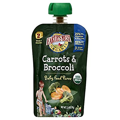Earth's Best Organic Stage 2, Carrots & Broccoli, 3.5 Ounce Pouch (Pack of 12) by Hain Group (Earth's Best)