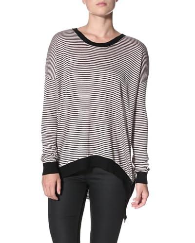 Wilt Women's Striped Back Slant Sweater  - Pink/Black