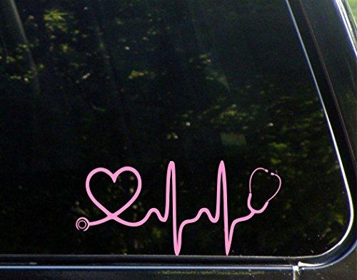Stethoscope-Heart-Pink-8x-3-34-Vinyl-Die-Cut-Decal-Bumper-Sticker-For-Windows-Trucks-Cars-Laptops-Macbooks-Etc