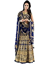 Designer Bollywood Style Royal Blue Art Silk Embroidery Work Semi-Stitched Bridal Lahenga Choli