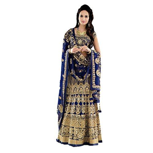 Designer Bollywood Style Royal Blue Art Silk Embroidery Work Semi-Stitched Bridal Lahenga Choli