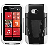 Nextkin Nokia Lumia 822 Atlas Hybrid Hard Silicone with Y Shape Stand Protector Cover Case - White and Black