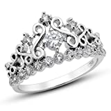 925 Sterling Silver Cubic Zirconia Princess Crown Tiara CZ Band Ring, Nickel Free Sz 7