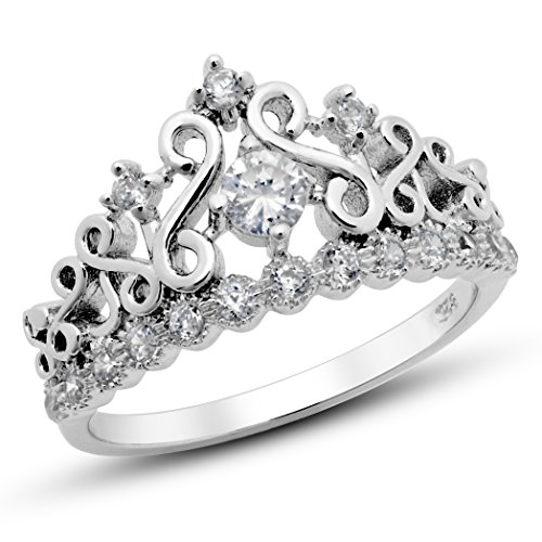 925 Sterling Silver Cubic Zirconia Princess Crown Tiara CZ Band Ring, Nickel Free Sz 7