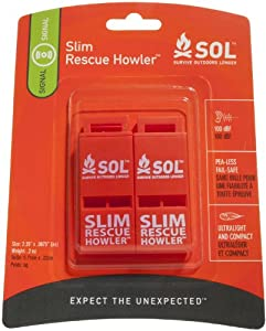 Adventure Medical Kits Sol Slim Rescue Howler Whistle, 2 Count
