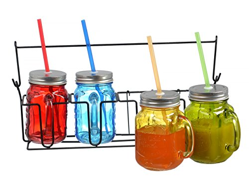 Zeesline Set Of Four (4) 16-Oz Colored Glass Mason Jars Mugs With Handles, Lids And Drinking Straws, Including Caddy Holder With A Handle, Home And Party Drinkware Set, Blue Red Green Yellow Drinking Jars