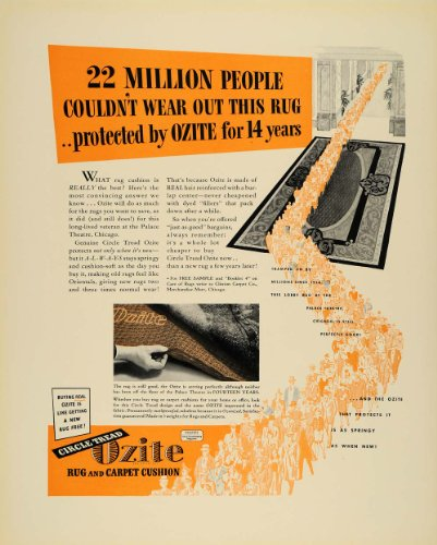 1940 Ad Ozite Rugs Carpet Cushion Flooring Illustration