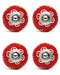 Knobs & Hooks FBK-145 Ceramic Cabinet Knob; Red+White; (Set of 4 pieces)