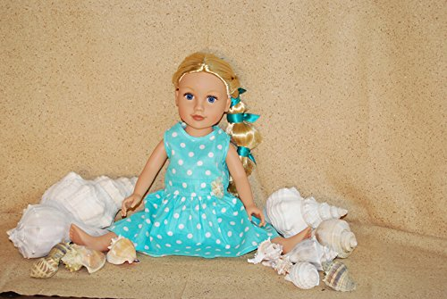 Polka Dots Dress Fits 18 Inches American Girl Dolls (Light Blue)