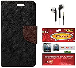 Tidel Premium Table Talk Fancy Diary Wallet Flip Cover Case for Lenovo A6000 Shot (Black) With Tidel Screen Guard & 3.5mm Handsfree Earphone