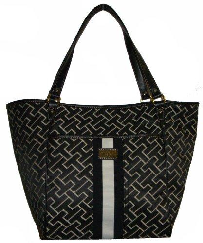 Tommy Hilfiger Women's Tote Handbag, Large Logo, Large, Black