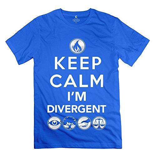 Ruifeng Man'S Keep Calm Im Divergent T-Shirt - L Royalblue