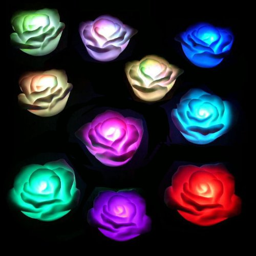 Set of 2 LED Floating Roses Batteries Included