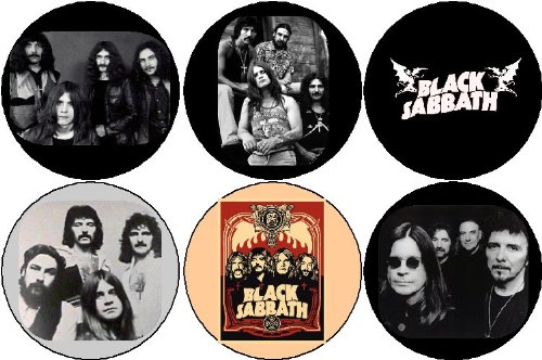 "Set of 6 BLACK SABBATH Pinback Buttons 1.25"" Pins Heavy Metal / Ozzy Osbourne"