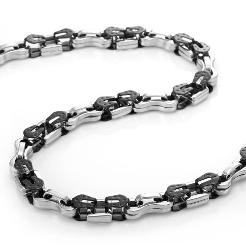Impressive Stainless Steel Biker Style Mens Chain Necklace (Silver Black) Jewelry