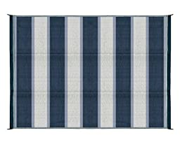 Camco 42871 Reversible Outdoor Mat (6\' x 9\', Blue Stripe)