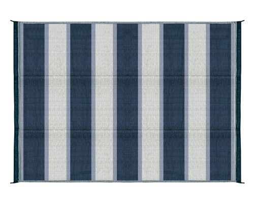 Camco 42871 Reversible Outdoor Mat (6′ x 9′, Blue Stripe)