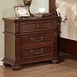 Landaluce Transitional Style Antique Dark Oak Finish Bedroom Nightstand