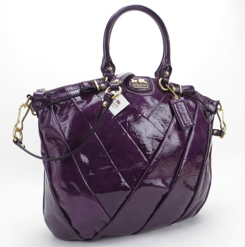 ... Diagonal Pleat Lindsey Purple Patent Leather Satchel Handbag 21299