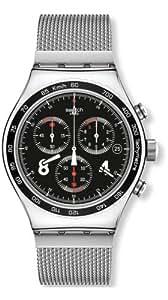 Swatch Herren-Armbanduhr XL Blackie Chronograph Quarz Edelstahl YVS401G