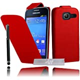 Etui Housse Luxe Rouge pour Samsung Galaxy Trend Lite S7390 + STYLET et 3 FILMS OFFERTS !!