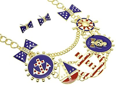 Nautical Red or Blue & White Anchor Helm Boat Skull Bow Ties Rhinestones Gold Tone Link Fashion Jewelry Statement Necklace & Earring Set