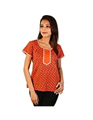 Jaipur RagaEthnic Girls Floral Print Orange Cotton Top Orange Girls Kurti