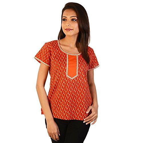 Jaipur RagaEthnic Girls Floral Print Orange Cotton Top Orange Girls Kurti