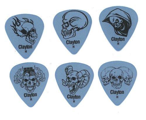 "Clayton ""Demonic Skulls"" Delrin Picks (Set of 12) heavy, blue"