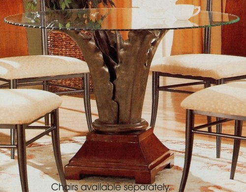 Cheap Dark Brown Wood Metal Leaves Base Round Dining Table w/Glass Top (VF_120091-CR45RD)