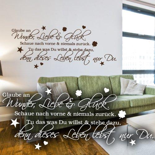 wandkings wandtattoo glaube an wunder liebe gl ck schaue nach vorne niemals zur ck tu. Black Bedroom Furniture Sets. Home Design Ideas