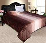 Zyne Shaded Flannel Double Blanket - Brown