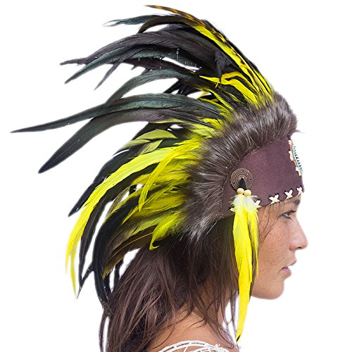 Unique Feather Headdress- Native American Indian Inspired- Handmade by Artisan Halloween Costume for Men Women with Real Feathers - Yellow with beads (Steam Iron For Hats compare prices)