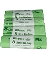 All-Green 8 Litre Biobag Compostable Kitchen Caddy Bin Liners, 100 Bags