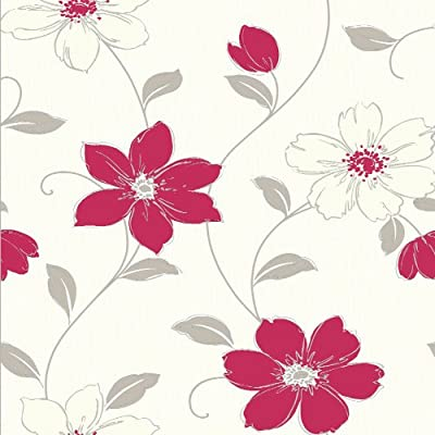 Red Taupe Cream - Anouska - Floral - Arthouse Wallpaper