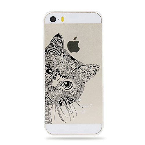 iPhone 5 5S SE Case,[Color Printed] Tribal Totem & Animal Series Soft TPU Silicone Protective Skin Ultra Slim & Clear with Unique Painted Design Gift Bumper Cover for 5/5s/SE 4 inch,Cat (Marvel Silicone Iphone 5s Case compare prices)