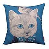 Kingla Home Decorative Blue Square Cotton Linen Throw Pillows Covers 18
