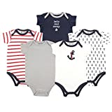 Luvable Friends Baby Infant 5 Pack Bodysuits, Boy Nautical, 3M(0-3 Months)