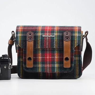 Herringbone Shoulder Bag The Papas Pocket Season II Mini for Small DSLR Mirrorless Rangefinder RF Instax Camera, Check Red