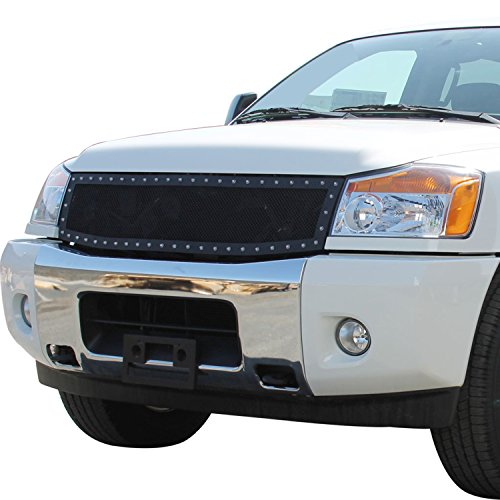 E-Autogrilles Rivet All Black Stainless Steel Wire Mesh Replacement Grille for 04-07 Nissan Titan / 05-07 Nissan Armada (46-0214) (2012 Nissan Armada Grille compare prices)
