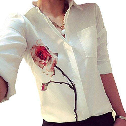 Fortan Maniche lunghe Donne Rosa Fiore camicetta Turn Down Chiffon Collare (medium)